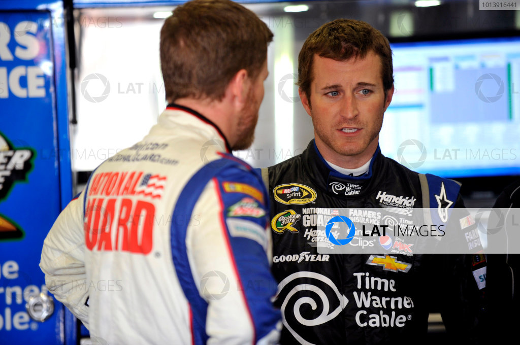 11-13 April, 2013, Fort Worth, Texas USA Kasey Kahne and Dale Earnhardt Jr. ©2013, Nigel Kinrade LAT Photo USA