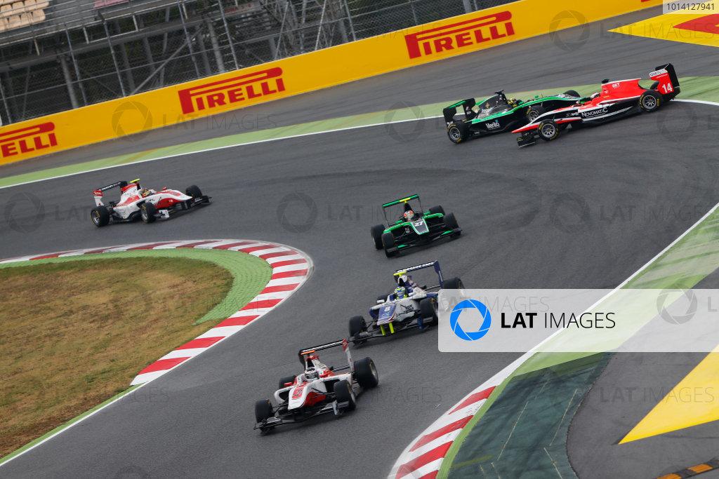 2014 GP3 Series Round 1 - Race 2. Circuit de Catalunya, Barcelona, Spain. Sunday 11 May 2014. Patrick Kujala (FIN, Marussia Manor Racing) & Nick Yelloly (GBR, Status Grand Prix) go off-track Photo: Sam Bloxham/GP3 Series Media Service. ref: Digital Image _SBL7092