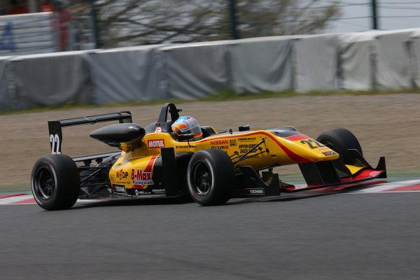 2014 All-Japan F3 Championship Suzuka, Japan. 12th - 13th April 2014. Rd 1. Race 2 - Winner Mitsunori Takaboshi ( #22 B-MAX Racing Team with NDDP ) action World Copyright: Yasushi Ishihara / LAT Photographic. Ref: 2014JF3_Rd2_007.JPG