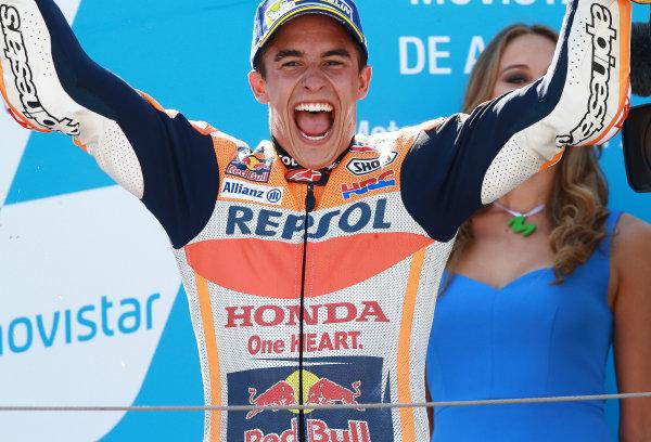 2017 MotoGP Championship - Round 14 Aragon, Spain. Sunday 24 September 2017 Podium: Race winner Marc Marquez, Repsol Honda Team World Copyright: Gold and Goose / LAT Images ref: Digital Image 14192