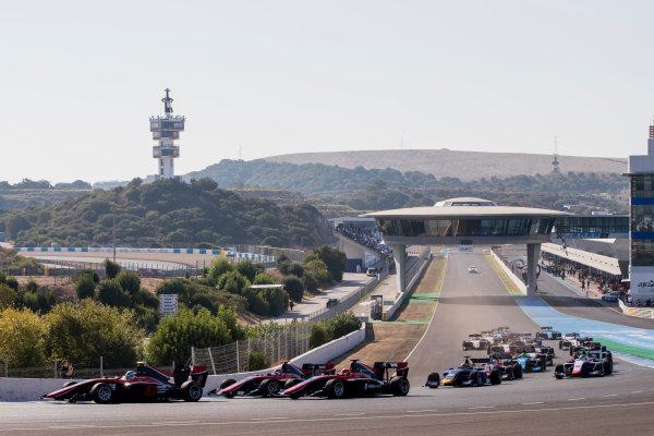 2017 GP3 Series Round 7.  Circuito de Jerez, Jerez, Spain. Saturday 7 October 2017. Nirei Fukuzumi (JPN, ART Grand Prix), leads Jack Aitken (GBR, ART Grand Prix), George Russell (GBR, ART Grand Prix) and the rest of the field at the start of the race. Photo: Zak Mauger/GP3 Series Media Service. ref: Digital Image _56I5496