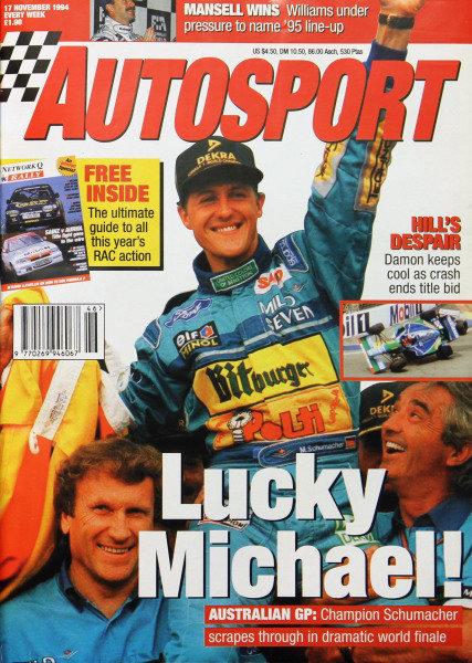 Cover of Autosport magazine, 17th November 1994