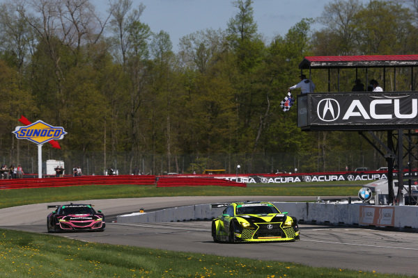#14 AIM Vasser Sullivan Lexus RC F GT3, GTD: Richard Heistand, Jack Hawksworth crosses the finish line under the checkered flag for the win