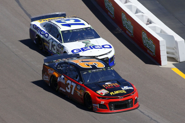 #37: Chris Buescher, JTG Daugherty Racing, Chevrolet Camaro Kroger Flavor Fill Up and #13: Ty Dillon, Germain Racing, Chevrolet Camaro GEICO