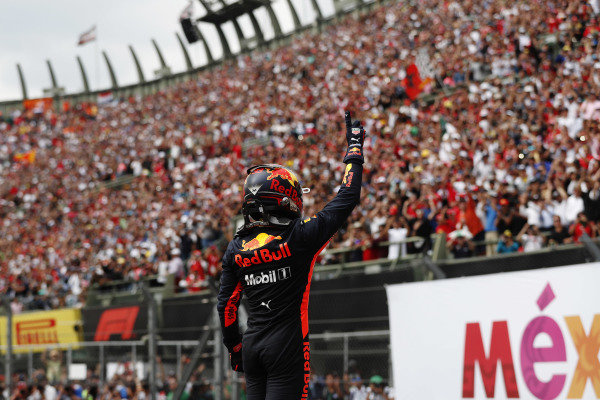 Max Verstappen, Red Bull Racing, celebrates in Parc Ferme after winning the race