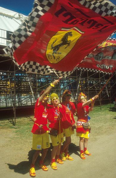 1990 Australian Grand Prix.Adelaide, Australia.2-4 November 1990.Even the Tifosi ventured down under to the land of Oz in support of Ferrari.Ref-90 AUS 26.World Copyright - LAT Photographic