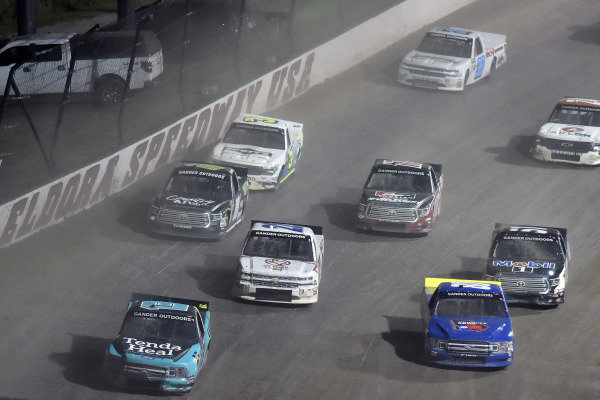 #13: Johnny Sauter, ThorSport Racing, Ford F-150 Tenda Heal and #80: Justin Shipley, Jacob Wallace Racing, Ford F-150 Rogers