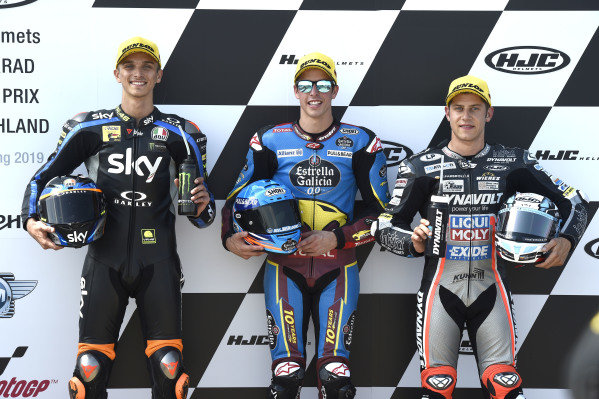 Polesitter Alex Marquez, Marc VDS Racing, second place Luca Marini, Sky Racing Team VR46, third placeMarcel Schrotter, Intact GP.