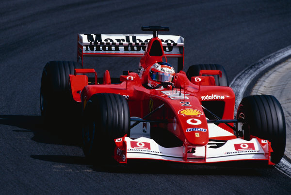 2002 Hungarian Grand Prix.Hungaroring, Budapest, Hungary. 16-18 August 2002.Rubens Barrichello (Ferrari F2002) 1st position.Ref-02 HUN 29.World Copyright - Tee/LAT Photographic