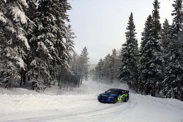 2003 FIA World Rally Championship. Karlstad, Sweden. Rd2.6-9 February 2003.Tommi Makinen/Kaj Lindstrom (Subaru Impreza WRC '03) 2nd position.World Copyright: McKlein/LAT Photographic