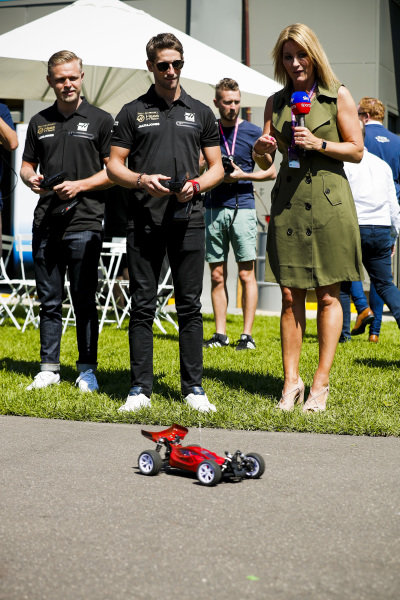 Romain Grosjean, Haas F1 and Kevin Magnussen, Haas F1 and Rachel Brookes, Sky Tv