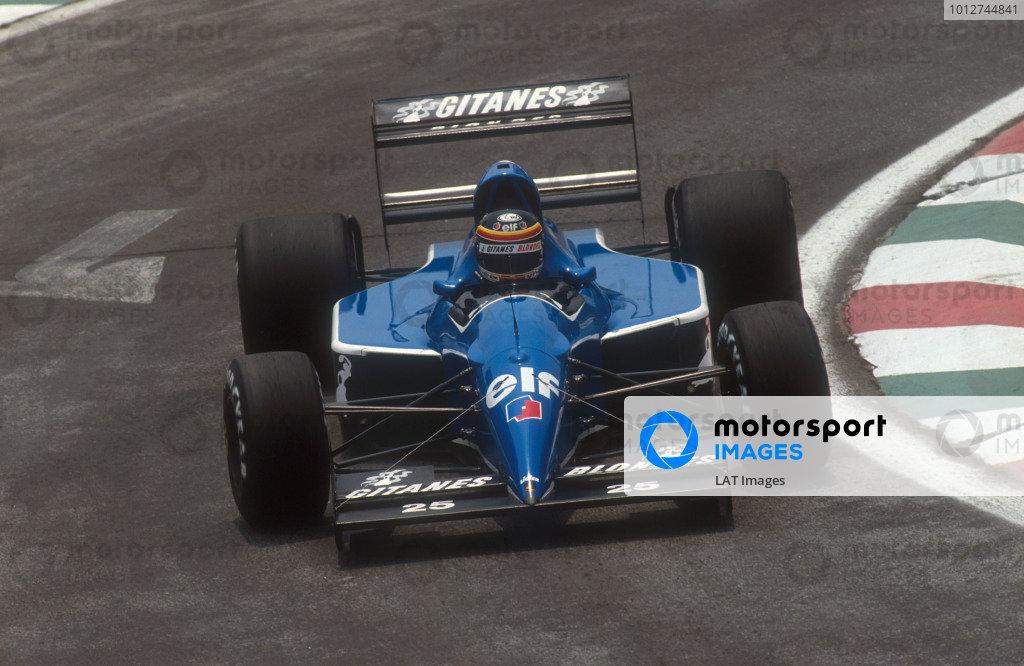 1991 Mexican Grand Prix.Mexico City, Mexico.14-16 June 1991.Thierry Boutsen (Ligier JS35 Lamboghini) 8th position.Ref-91 MEX 06.World Copyright - LAT Photographic