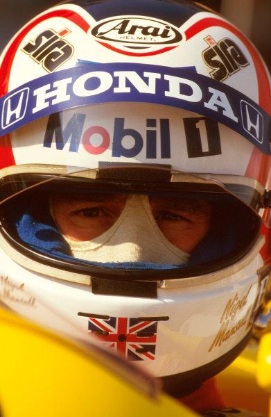 Silverstone, England.10-12 July 1987.Nigel Mansell (Williams Honda) 1st position.Ref-87 GB 36.World Copyright - LAT Photographic