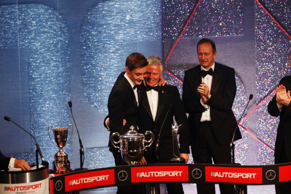 2014 Autosport Awards. Grosvenor House Hotel, Park Lane, London. Sunday 7 December 2014. George Russell wins the 2014 McLaren AUTOSPORT BRDC Award. World Copyright: Sam Bloxham/LAT Photographic. ref: Digital Image _14P3998