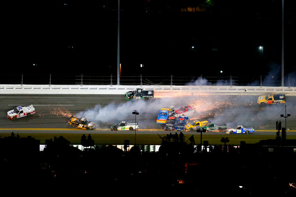 19-20 February, 2015, Daytona Beach, Florida USA Timothy Peters, Johnny Sauter, Cameron Hayley, Spencer Gallagher, James Buescher, John Wes Townley crash ?2015, Russell LaBounty LAT Photo USA
