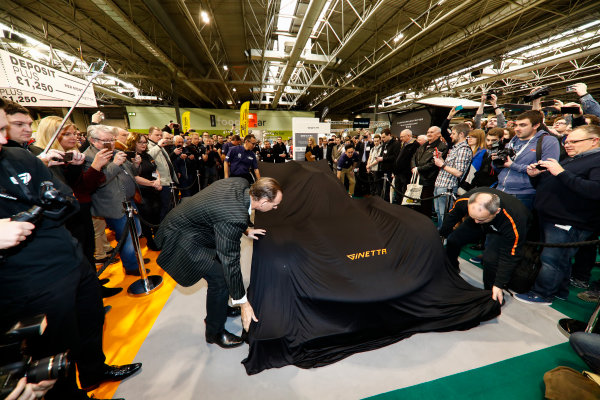 Autosport International Exhibition. National Exhibition Centre, Birmingham, UK. Thursday 11th January 2018. The Ginetta LMP1 car is unveiled. Lawrence Tomlinson pulls the covers back. World Copyright: Glenn Dunbar/LAT Images Ref: _31I2014