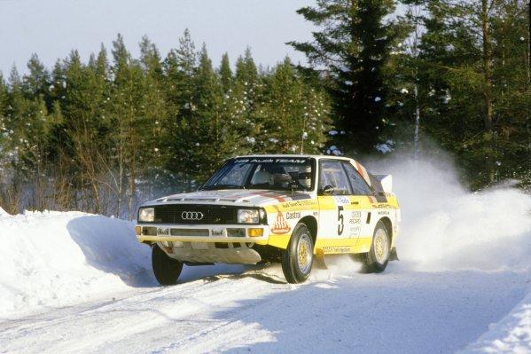 1985 World Rally Championship.Swedish Rally, Sweden. 15-17 February 1985.Walter Rohrl/Christian Geistdorfer (Audi Sport Quattro), retired.World Copyright: LAT PhotographicRef: 35mm transparency 85RALLY12
