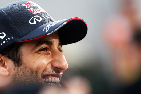Hungaroring, Budapest, Hungary. Sunday 27 July 2014. Daniel Ricciardo, Red Bull Racing, 1st Position, is interviewed after the race. World Copyright: Sam Bloxham/LAT Photographic. ref: Digital Image _SBL1358