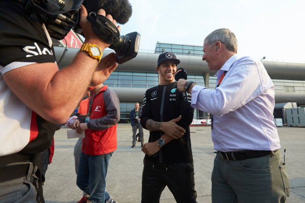 Shanghai International Circuit, Shanghai, China. Sunday 12 April 2015. Lewis Hamilton, Mercedes AMG, is interviewed by Martin Brundle, Commentator, Sky Sports F1. World Copyright: Steve Etherington/LAT Photographic. ref: Digital Image SNE11448