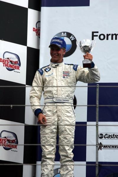 3rd place in race 2, Christian Bakkerud (DEN) Carlin Motorsport.Formula BMW UK Championship, Rockingham, England, 4-5 September 2004.DIGITAL IMAGE.