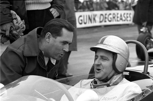 Goodwood Easter Monday F3 races, 23rd April 1962 Jack Brabham (AUS), chats with Denny Hulme (NZL) before the start of the F3 race