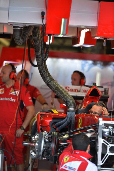 Ferrari F14 T in the garage. Formula One World Championship, Rd1, Australian Grand Prix, Preparations, Albert Park, Melbourne, Australia, Thursday 13 March 2014.