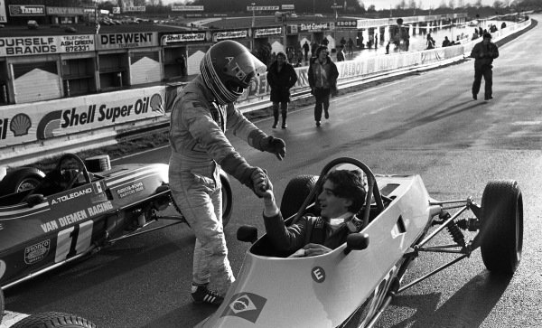 Ayrton Senna da Silva (BRA) Van Diemen R81 is congratulated by Alfonso Toledano (MEX) following Sennas first single seater victory in only his third race. Townsend Thoresen Formula Ford 1600 Championship, Brands Hatch, England, 15 March 1981.