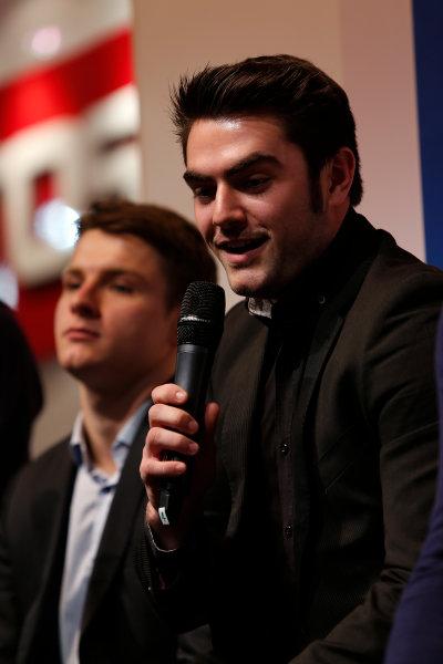 Autosport International Show NEC, Birmingham.  Sunday 12 January 2014. Alex Lynn on the stage. World Copyright:Sam Bloxham/LAT Photographic ref: Digital Image _SBL2877