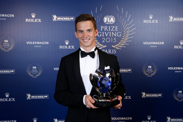 2015 FIA Prize Giving Paris, France Friday 4th December 2015 Timmy Hansen, portrait  Photo: Copyright Free FOR EDITORIAL USE ONLY. Mandatory Credit: FIA / Jean Michel Le Meur  / DPPI ref: _ML23404