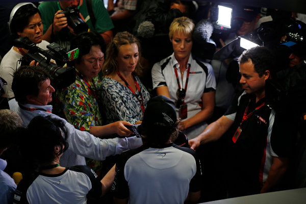 Hungaroring, Budapest, Hungary. Thursday 23 July 2015. Fernando Alonso, McLaren, talks to the press. World Copyright: Steven Tee/LAT Photographic ref: Digital Image _L4R5705