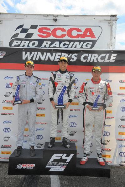 11-14 August, 2016, Lexington, Ohio USA Race #3 winner Cameron Das with Kyle Kirkwood and Moises de la Vara ©2016 Dan R. Boyd LAT Photo USA