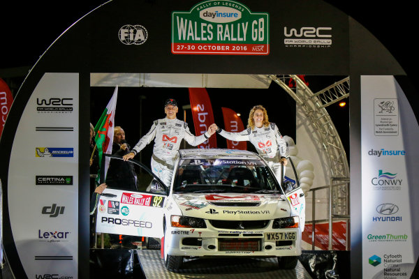 2016 FIA World Rally Championship, Round 13, Wales Rally GB 2016 October 27 - 30, 2016, Tony Jardine, Amy Williams, Mitsubishi, Ceremonial Start Worldwide Copyright: McKlein/LAT