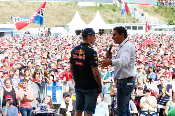 Hockenheim, Germany. Saturday 30 July 2016. Max Verstappen, Red Bull, is interviewed on stage at an event for fans. World Copyright: Andy Hone/LAT Photographic ref: Digital Image _ONY7731
