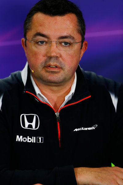 Silverstone, Northamptonshire, UK Friday 08 July 2016. Eric Boullier, Racing Director, McLaren, in the Team Principals Press Conference. World Copyright: Andy Hone/LAT Photographic ref: Digital Image _ONY8087