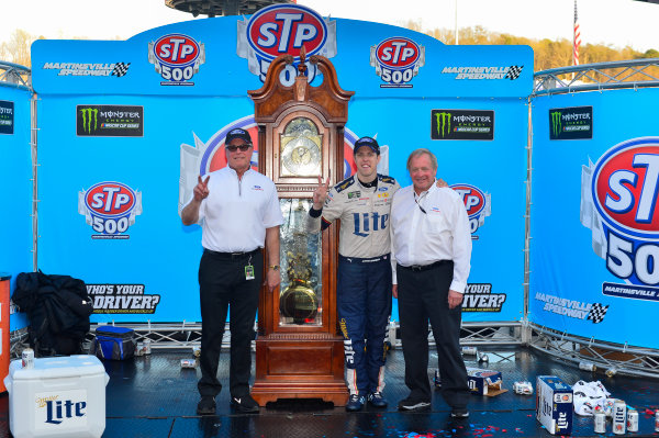 2017 Monster Energy NASCAR Cup Series STP 500 Martinsville Speedway, Martinsville, VA USA Sunday 2 April 2017 Tim Duerr, Brad Keselowski, and Edsel Ford in victory lane World Copyright: Logan Whitton/LAT Images ref: Digital Image 17MART1LW2828