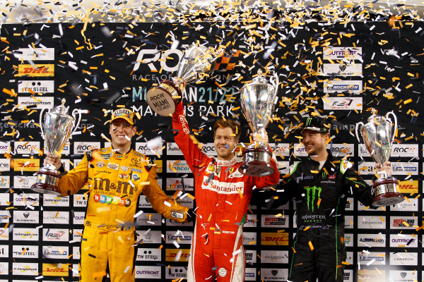 2017 Race of Champions Miami, Florida, USA Sunday 22 January 2017 Podium Nations cup: Race winner Sebastian Vettel; second place Team USA-NASCAR with Kyle Busch and Kurt Busch World Copyright: Alexander Trienitz/LAT Photographic ref: Digital Image 2017-RoC-MIA-AT2-3167