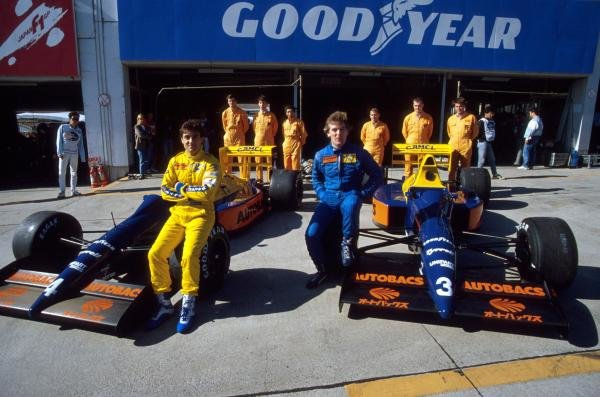 Jean Alesi (FRA) (Left) and Jonathan Palmer (GBR) (Right) show off their Tyrrell 018Ã•s, that were displaying new sponsorship from Autobacs.      Japanese Grand Prix, Suzuka, Japan. 22 Oct 1989.