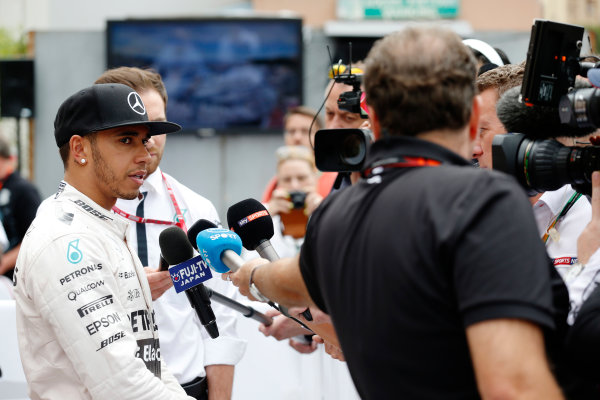 Monte Carlo, Monaco. Sunday 24 May 2015. Lewis Hamilton, Mercedes AMG, 3rd Position, faces the media. World Copyright: Alastair Staley/LAT Photographic. ref: Digital Image _R6T2481