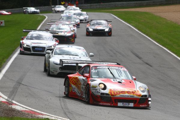2014 Avon Tyres British GT Championship, Brands Hatch, Kent. 30th - 31st August 2014. Jon Minshaw / Phil Keen Trackspeed Porsche 997 GT3 R. World Copyright: Ebrey / LAT Photographic.