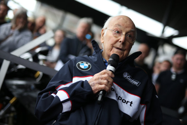 2017 Goodwood Festival of Speed. Goodwood Estate, West Sussex, England. 30th June - 2nd July 2017. Murray Walker (GBR) BMW  World Copyright : JEP/LAT Images