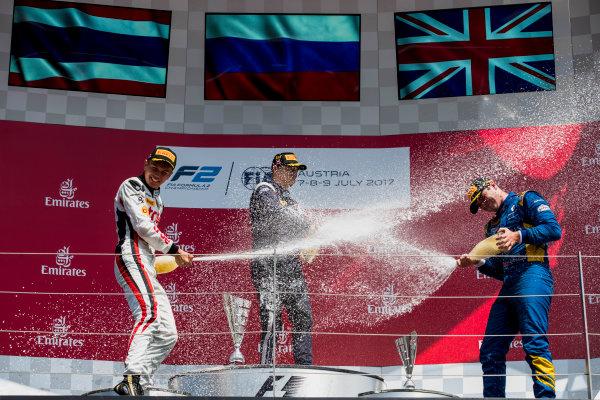 2017 FIA Formula 2 Round 5. Red Bull Ring, Spielberg, Austria. Sunday 9 July 2017. Alexander Albon (THA, ART Grand Prix), Artem Markelov (RUS, RUSSIAN TIME) and Oliver Rowland (GBR, DAMS).  Photo: Zak Mauger/FIA Formula 2. ref: Digital Image _54I0364