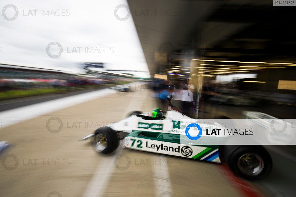 Williams 40 Event Silverstone, Northants, UK Friday 2 June 2017. A Carlos Reutemann Williams FW07b leaves a pit garage. World Copyright: Sam Bloxham/LAT Images ref: Digital Image _W6I6672