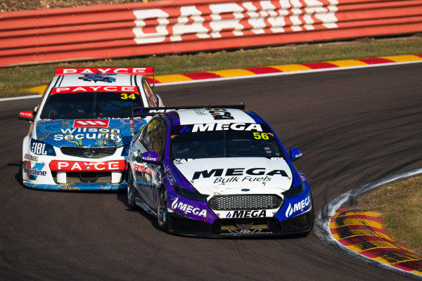 2017 Supercars Championship Round 6.  Darwin Triple Crown, Hidden Valley Raceway, Northern Territory, Australia. Friday June 16th to Sunday June 18th 2017. Jason Bright drives the #56 MEGA Racing Ford Falcon FG-X. World Copyright: Daniel Kalisz/LAT Images Ref: Digital Image 170617_VASCR6_DKIMG_3630.JPG