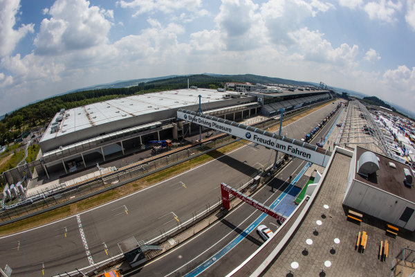 A view of the pitlane and pit straight