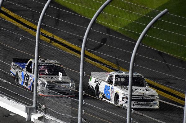 #13: Johnny Sauter, ThorSport Racing, Toyota Tundra Vivitar/RealTree and #45: Brett Moffitt, Niece Motorsports, Chevrolet Silverado