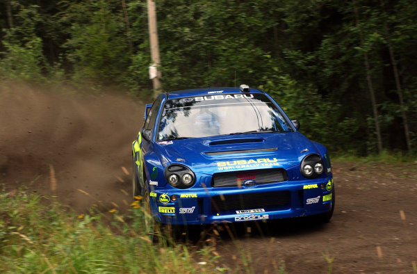 2002 World Rally Championship.Neste Rally Finland, Jyvaskyla Finland, August 8-11th.Tommi Makinen during shakedown.Photo: Ralph Hardwick/LAT