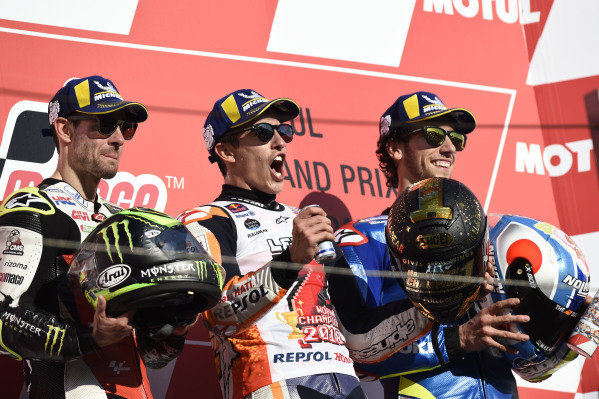 Podium:race winner Marc Marquez, Repsol Honda Team, second place Cal Crutchlow, Team LCR Honda, third place Alex Rins, Team Suzuki MotoGP
