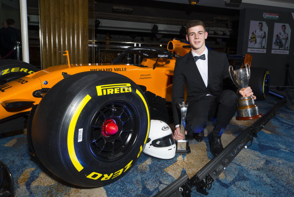 McLaren Autosport BRDC Award winner Tom Gamble poses with the McLaren F1 car