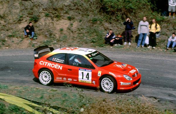 2001 World Rally Championship. Catalunya Rally, Spain. 22nd - 25th March 2001. Rd 4. P Bugalski / JP Chiaroni, Citroen Xsara T4, action. World Copyright: McKlein / LAT Photographic. Ref: A16