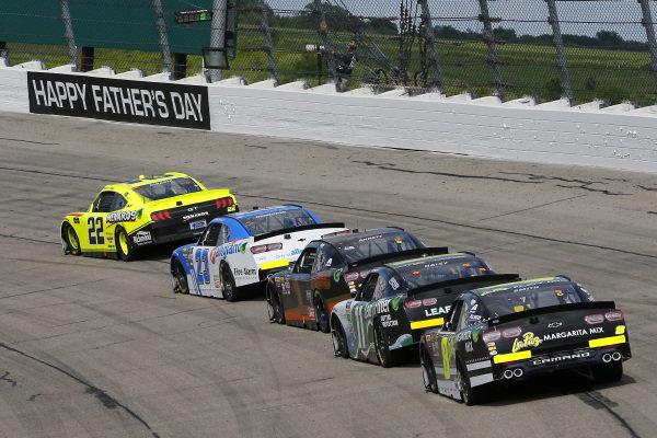 #22: Austin Cindric, Team Penske, Ford Mustang Menards/Richmond and #23: John Hunter Nemechek, GMS Racing, Chevrolet Camaro Allegiant